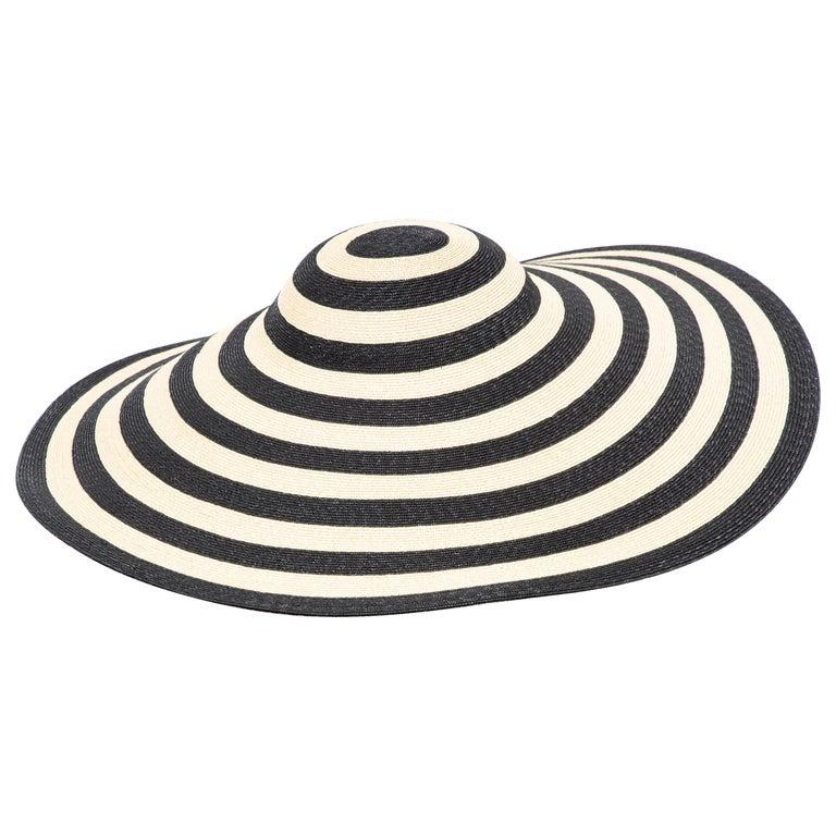 Philip Treacy for Ralph Lauren Collection Striped Raffia Hat For Sale
