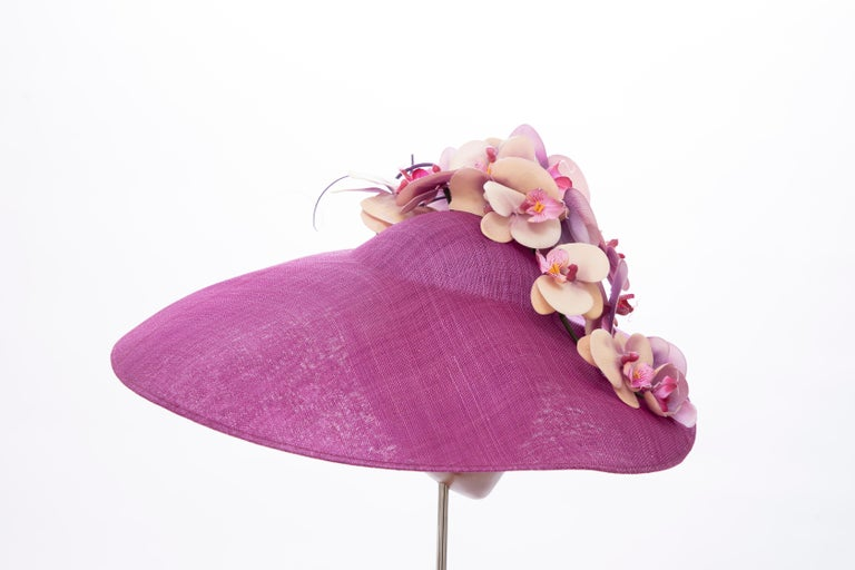 Philip Treacy Fuschia Sinamay Straw Hat