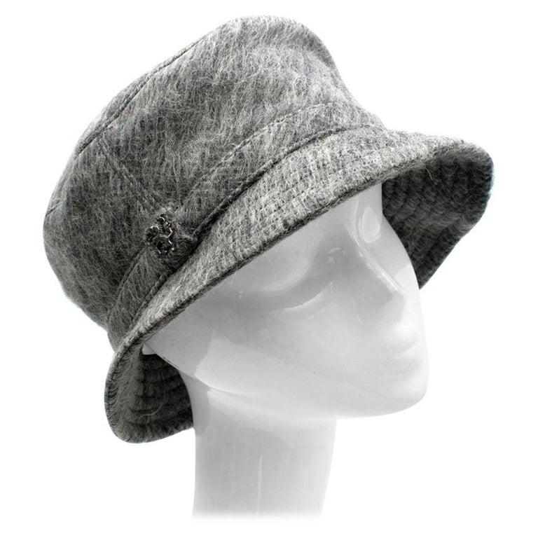 Philip Treacy Grey Wool Blend Bucket Hat  For Sale