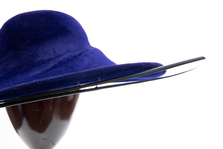 Philip Treacy Indigo Wool Felt Hat For Sale 6
