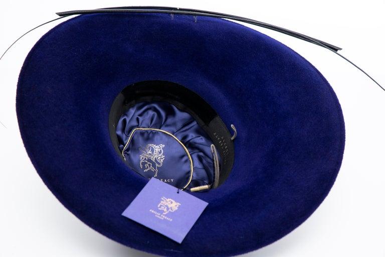 Philip Treacy Indigo Wool Felt Hat For Sale 7