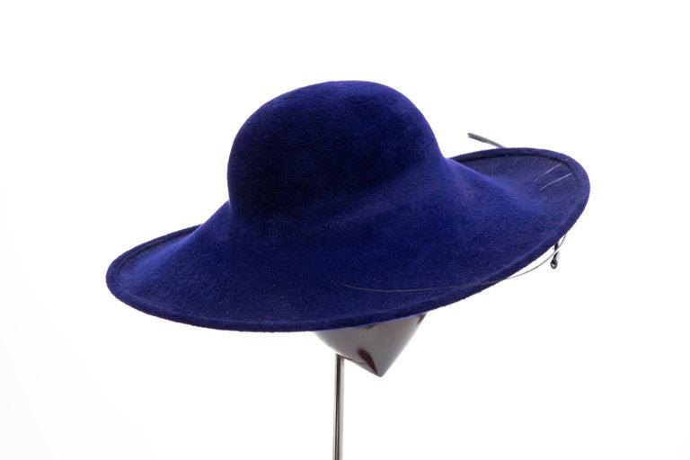 Women's Philip Treacy Indigo Wool Felt Hat For Sale