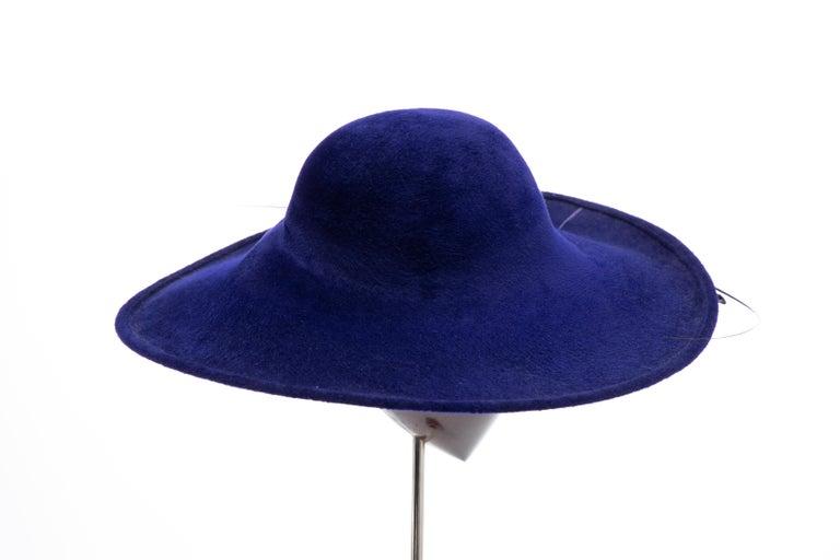 Philip Treacy Indigo Wool Felt Hat For Sale 1