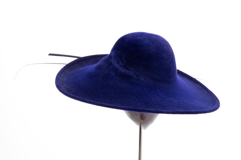 Philip Treacy Indigo Wool Felt Hat For Sale 2