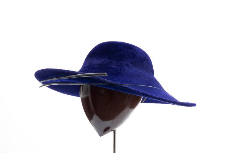 Philip Treacy Indigo Wool Felt Hat For Sale 4