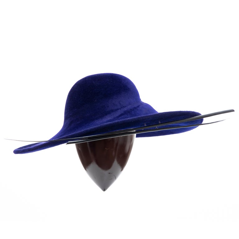 Philip Treacy Indigo Wool Felt Hat For Sale at 1stdibs 98b7866018f4