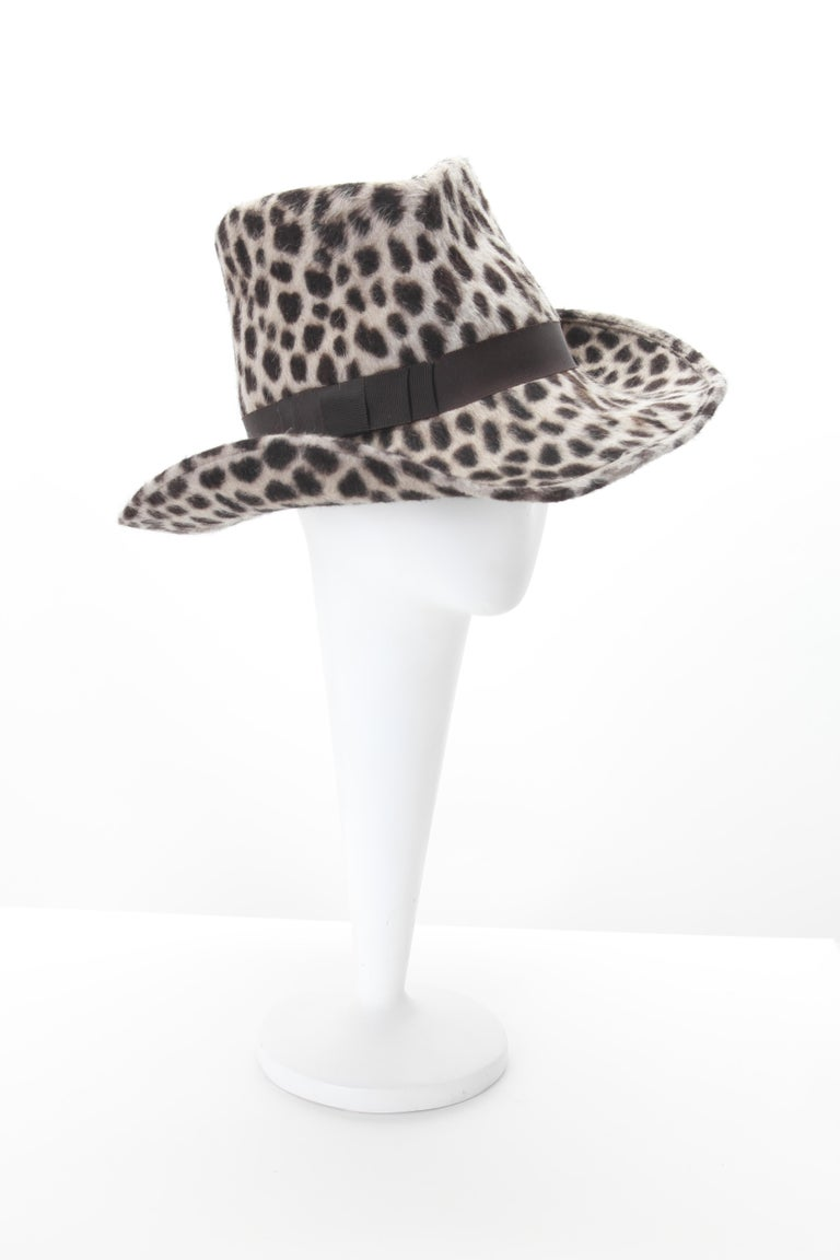 Philip Treacy Leopard Print Felt Fedora with grosgrain band. Interior diameter approx. 22