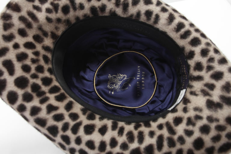 Philip Treacy Leopard Print Felt Fedora In Good Condition For Sale In New York, NY