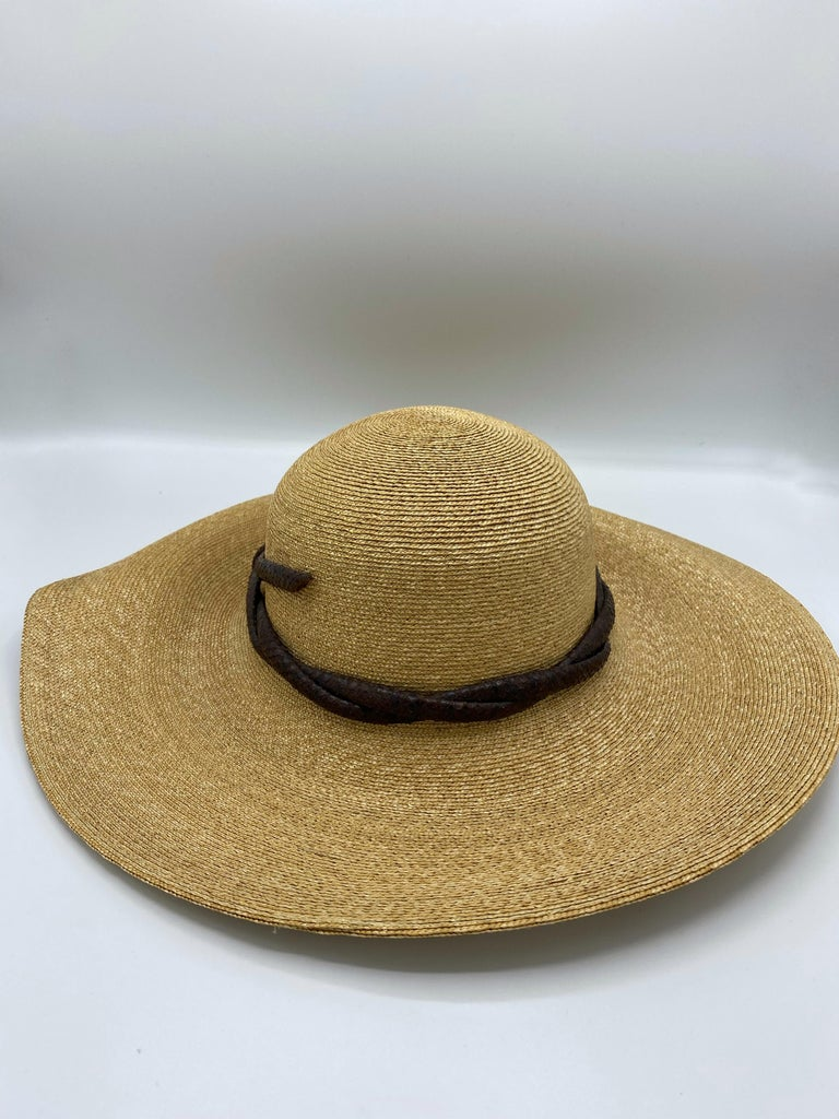 Women's Philip Treacy London Beige Straw and Brown Animal Skin Leather Hat  For Sale