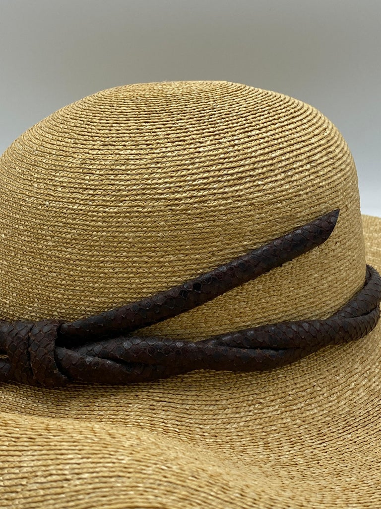 Philip Treacy London Beige Straw and Brown Animal Skin Leather Hat  For Sale 3