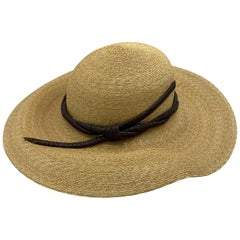 Philip Treacy London Beige Straw and Brown Animal Skin Leather Hat