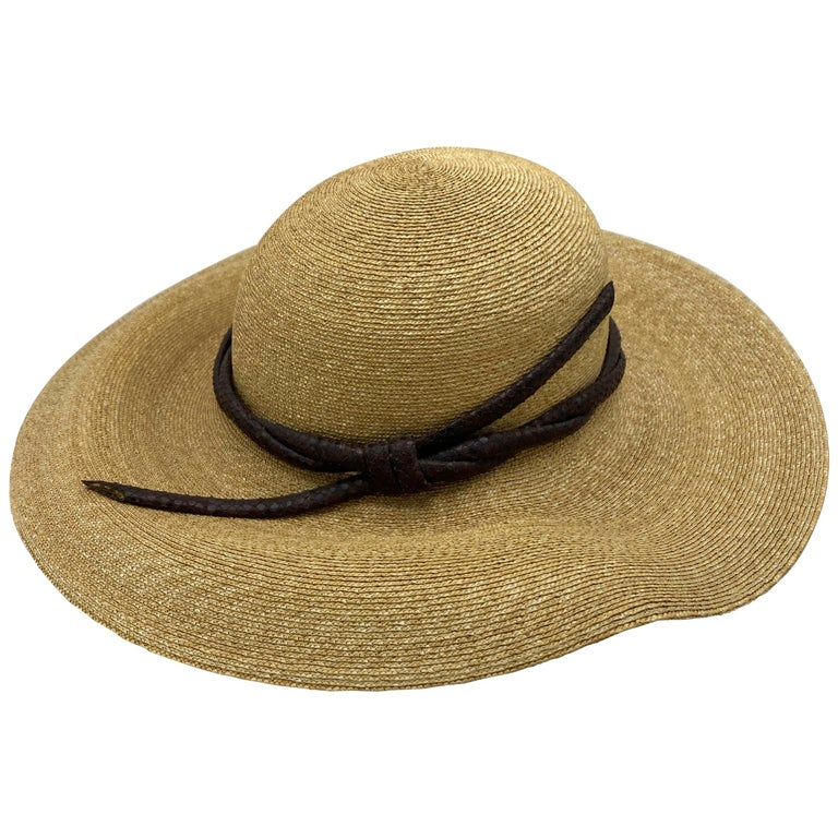 Philip Treacy London Beige Straw and Brown Animal Skin Leather Hat  For Sale