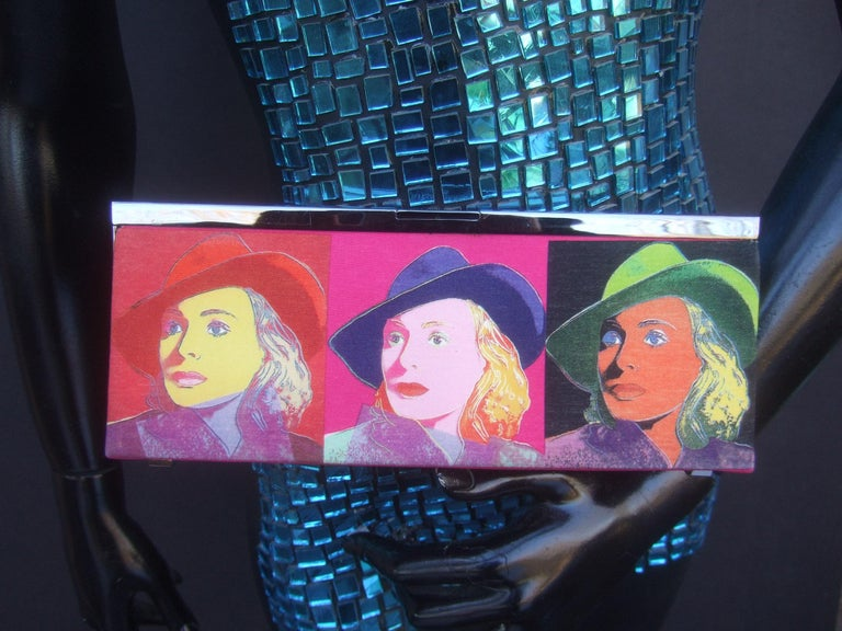 Philip Treacy London Graphic Cotton Cloth Print Clutch for Andy Warhol c 21st C In Good Condition For Sale In Santa Barbara, CA