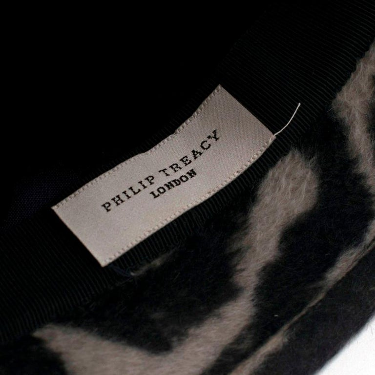 Philip Treacy Zebra Wool Felt Hat For Sale 2