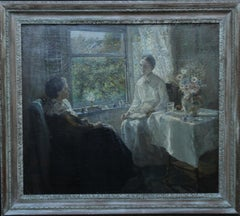 Daughter Reading to Mother - British 1900 Impressionist portrait oil painting