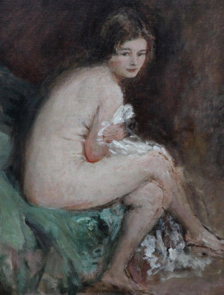 Nude Female Portrait - Susannah - British 20's Impressionist art oil painting - Black Portrait Painting by Philip Wilson Steer