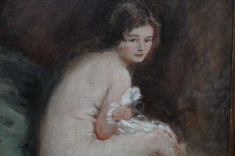 Nude Female Portrait - Susannah - British 20's Impressionist art oil painting For Sale 1