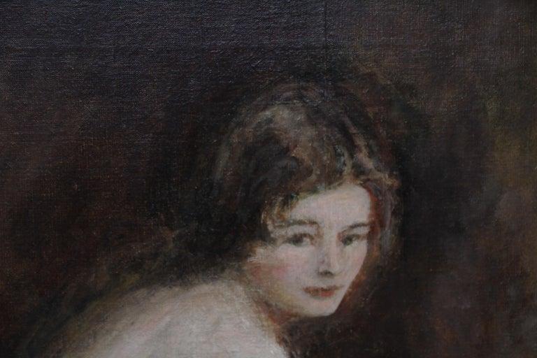 Nude Female Portrait - Susannah - British 20's Impressionist art oil painting For Sale 3