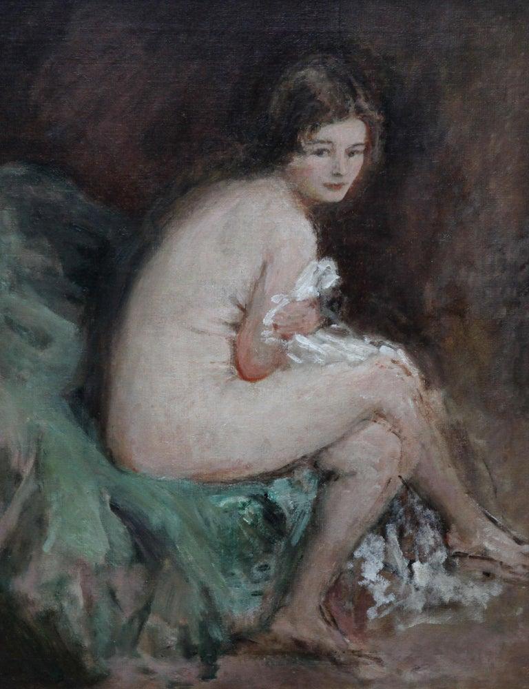 Nude Female Portrait - Susannah - British 20's Impressionist art oil painting For Sale 5