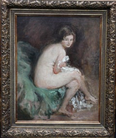Nude Female Portrait - Susannah - British 20's Impressionist art oil painting