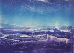 Ocean twilight, collagraph relief oil on paper
