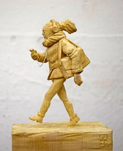 Busy by Philipp Liehr- Contemporary Figurative Wood Carved Sculpture