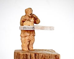 Snack Bar - Contemporary Wood sculpture, figurative sculpture, wood carving