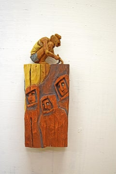 Streetart - Contemporary Wall Wood sculpture, figurative sculpture, wood carving