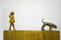 The Tracker by Philipp Liehr- Contemporary Figurative Wood Carved Sculpture
