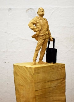 The Traveler by Philipp Liehr- Contemporary Figurative Wood Carved Sculpture