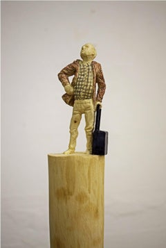 The Traveler - Wood sculpture, figurative sculpture, wood carving