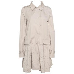 Philipp Plein Beige Embellished Dress Coat M