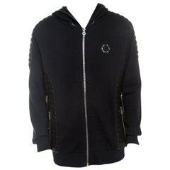 Philipp Plein Black Cotton Skull Embellished Finish Line Hooded Jacket 3XL