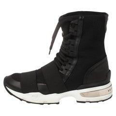 Philipp Plein Black Elastic And Mesh Slip On High Top Sneakers Size 39