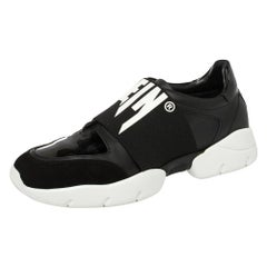 Philipp Plein Black Leather and Suede Logo Strap Slip On Sneakers Size 39