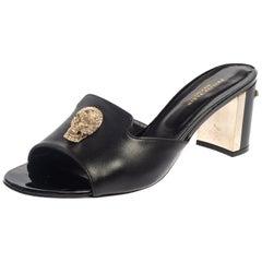 Philipp Plein Black Leather Skull Embellished Slide Sandals Size 40