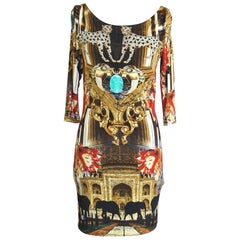 Philipp Plein Couture Dress Limited Edition Exotic Indian Print 3/4 Sleeve S
