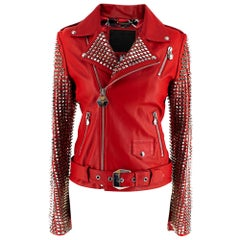 Philipp Plein Couture Embellished Red Leather Jacket - Size XS