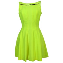 Philipp Plein Couture Fluo Yellow Stones Sleeveless Flared Short Party Dress