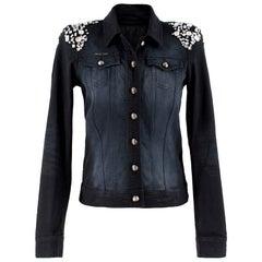 Philipp Plein Crystal-Embellished Black Denim Jacket - Size US 4