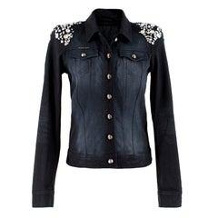 Philipp Plein Crystal-Embellished Black Denim Jacket UK 8
