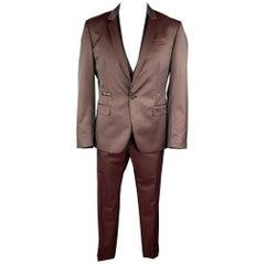 PHILIPP PLEIN Diamond Cut 44 Burgundy & Black Wool Blend 3 Piece Tuxedo Suit