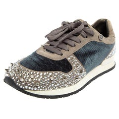 Philipp Plein Grey/Blue Suede and Velvet Spike Embellished Sneakers Size 37