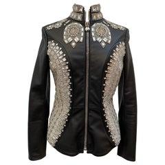 Philipp Plein Leather Jacket Swarovsky Studded