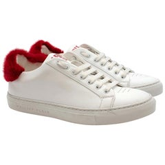 Philipp Plein White Leather Sneakers with Red Fur Detail US 8