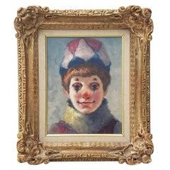 "Philippe Alfieri ""Young Harlequin"" Original Oil Portrait, circa 1970s"