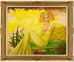 Philippe Auge Original Oil Painting on Canvas Large Signed Female Portrait Art