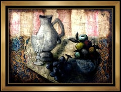 Philippe Auge Original Oil Painting on Canvas Signed Still Life Fruit Food Art