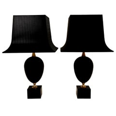 "Philippe Barbier Black ""Oeuf"" Table Lamps"