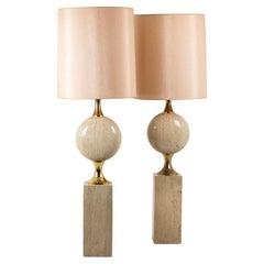 Philippe Barbier, Pair of Lamps in Travertine, 1970's, LS45661551